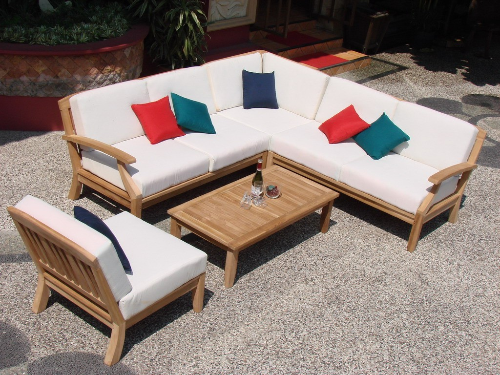Beautiful 5 Piece A Grade Teak Dining Patio Set U0026 Pool Set 1 Lounge Chair,  2 Love Seat, 1 Corner Seat U0026 1 Coffee Table