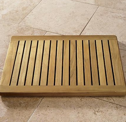 spa sensations bamboo wood step out bath mat tan ginsey vcny - Teak Bath Mat