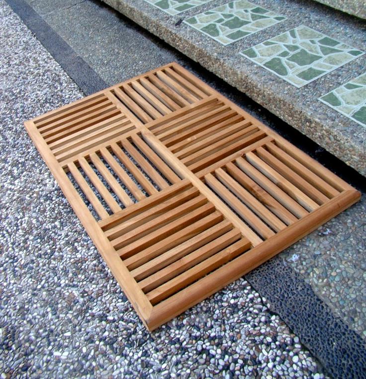 Does not apply - Grade-A Teak Wood Basket Weave Floor Mat Bath Spa Shower Door