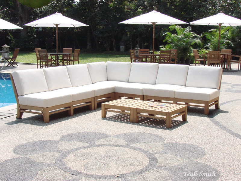 Ramled Grade A Teak Wood 7pc Sectional Sofa Lounge Set Outdoor
