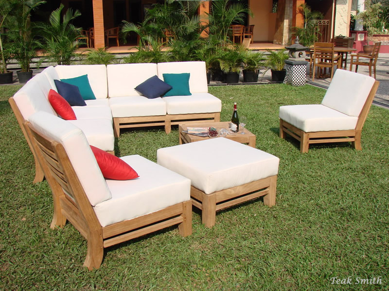 Ramled A Grade Teak Wood 7pc Sectional Sofa Lounge Set Outdoor Garden Patio  New | EBay