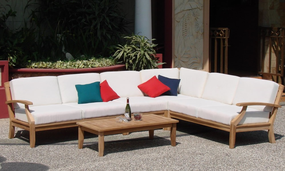 Samurai Grade A Teak Wood 5 Pc Outdoor Garden Patio Sectional Sofa Lounge Set Ebay